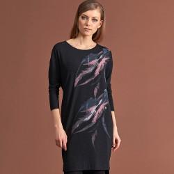 sukienka dzianina Feria FC237-5-02 czarna w pióra rozmiar 38 46