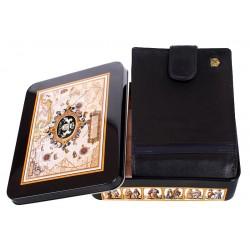Czarny skórzany portfel Meltoni L6103/A granatowa lamówka, wkładka