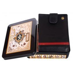 Czarny skórzany portfel Meltoni L6103/A z czerwoną lamówką i wkładką