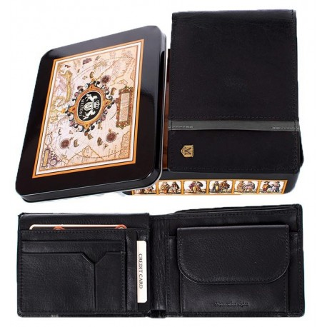 8a3bccdbb23bb Czarny portfel męski Meltoni L615 skórzany z szarą lamówką