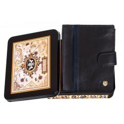 Czarny portfel Meltoni L6114/A z granatową lamówką w pudełku - skóra