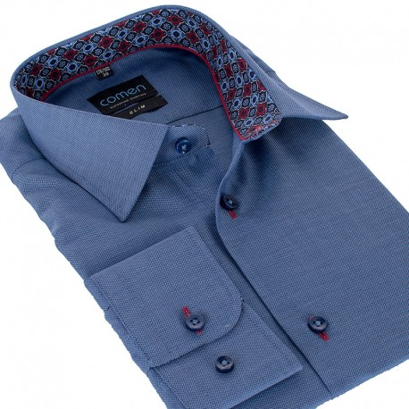 Niebieska koszula slim Comen z wykończeniem