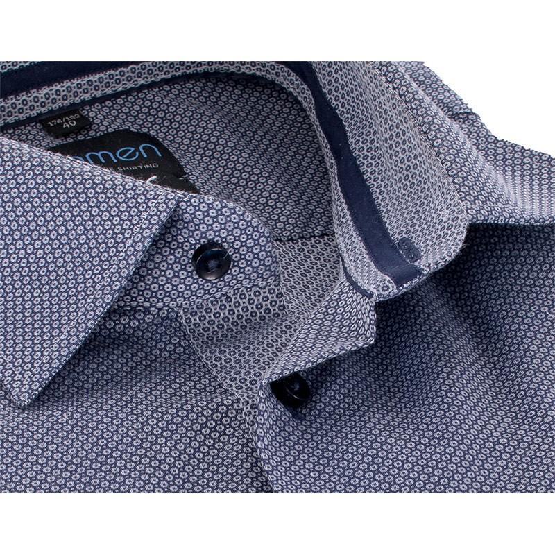 Koszula Comen slim szara ze wzorem dł. rękaw