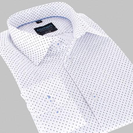 Koszula Comen slim biała ze wzorem dł. rękaw