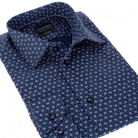 Granatowa koszula Comen w niebieskie kwiaty