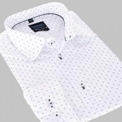 Koszula długi rękaw Comen slim, biała ze wzorem roz. 39 40 41 42 43 44
