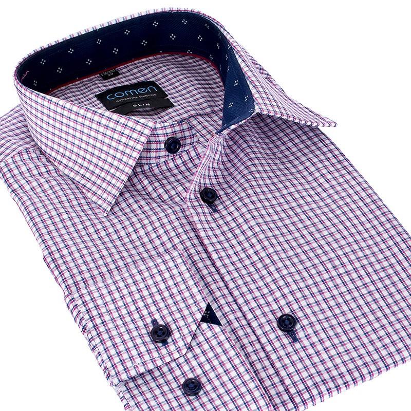 Koszula Comen w drobną kratkę slim długi rękaw