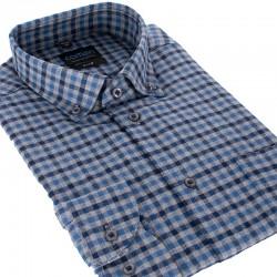 Niebieska koszula Comen w kratkę długi rękaw slim 39 40 41 42 43 44