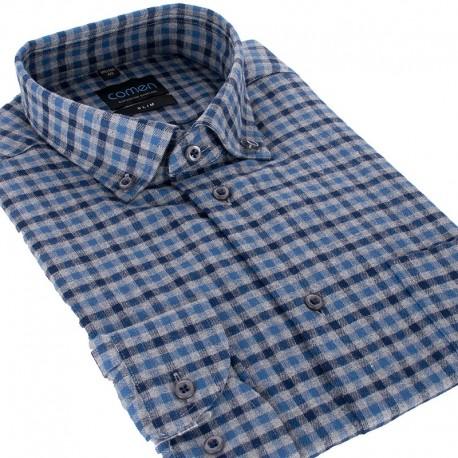 Bordowa flanelowa koszula Comen slim w kratkę 39 40 41 42 43 44 45 46