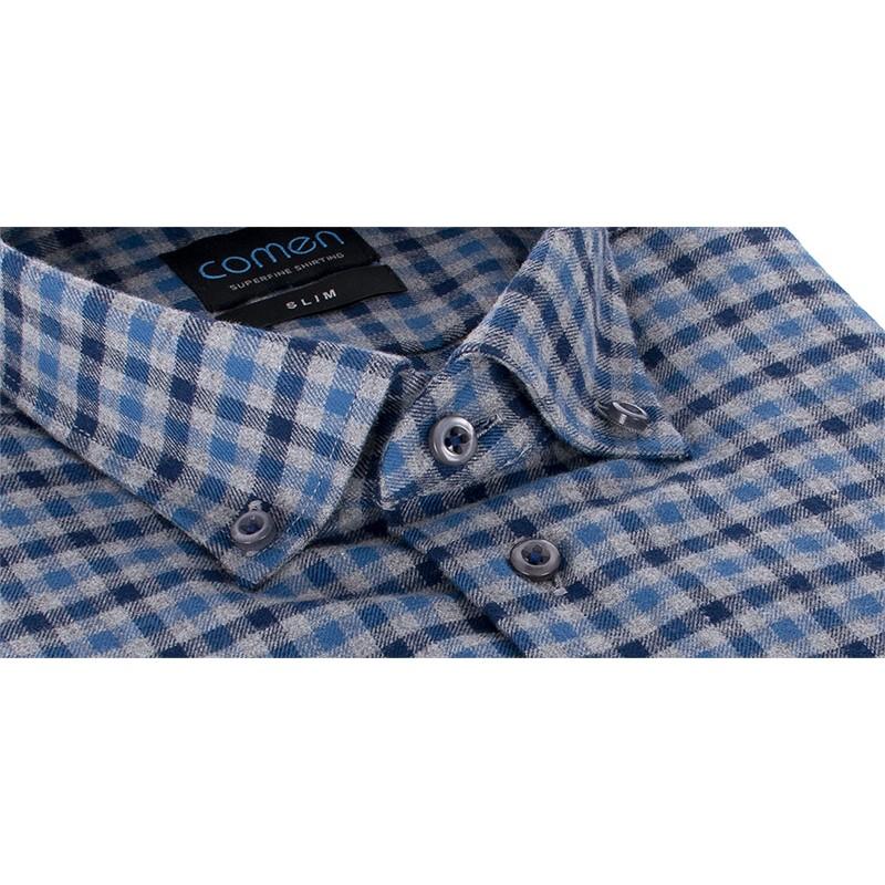 Koszula flanelowa Comen w kratkę z długim rękawem slim