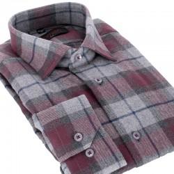 Koszula flanelowa Comen w kratkę długi rękaw slim 39 40 41 42 43 44