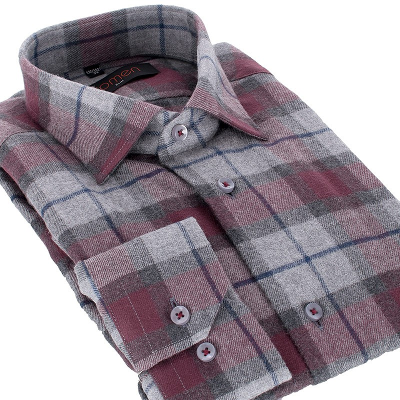 Koszula flanelowa Comen w kratkę długi rękaw slim