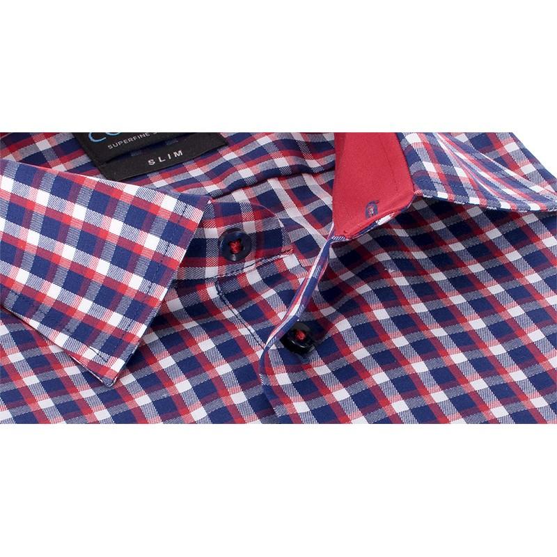 Koszula Comen w granatowo-czerwoną kratkę - slim