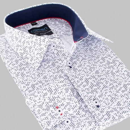 Biała koszula Comen slim dł. rękaw ze wzorem 39 40 41 42 43