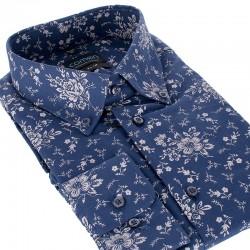 Granatowa koszula Comen slim długi rękaw ze wzorem 39 40 41 42 43 44