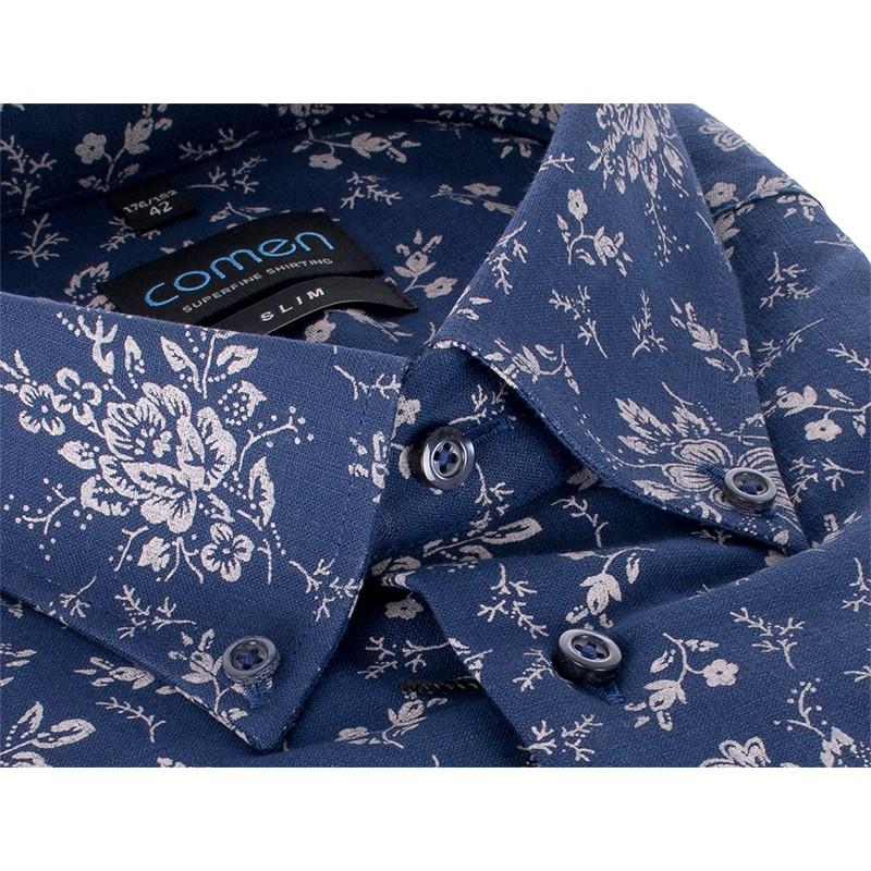 Granatowa koszula Comen slim dł. rękaw wzór kwiaty