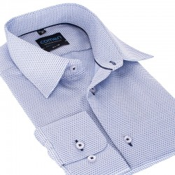 Niebieska koszula Comen slim dł. rękaw wzorek 39 40 41 42 43 44 45 46
