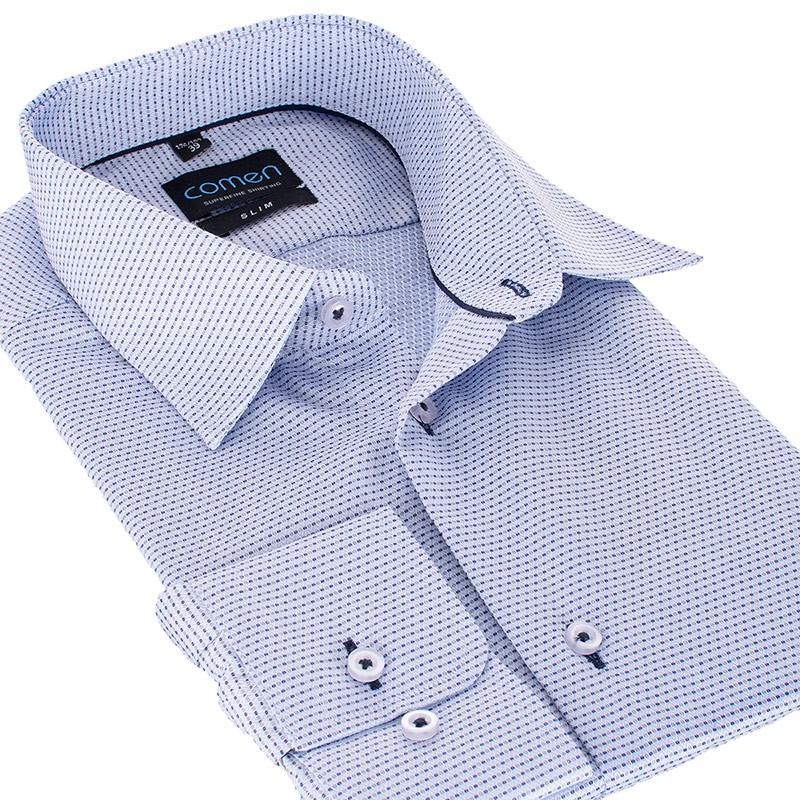 Niebieska koszula slim Comen dł. rękaw wzór