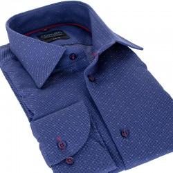 Granatowa koszula Comen slim dł. rękaw ze wzorem 39 40 41 42 43 44 45