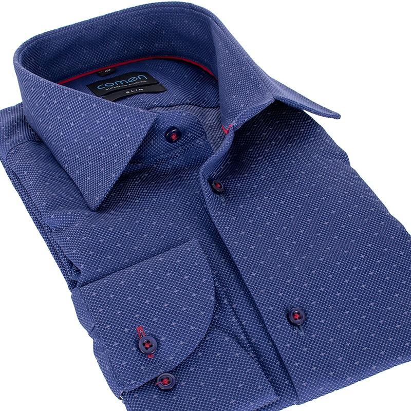 Granatowa koszula Comen slim dł. rękaw drobny wzorek