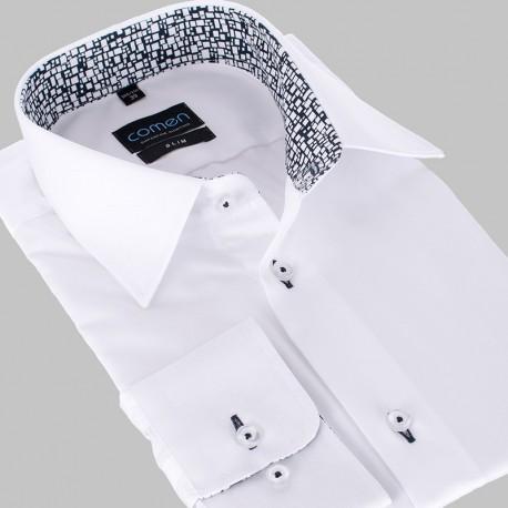 Biała koszula Comen slim dł. rękaw z kontrastowym wykończeniem