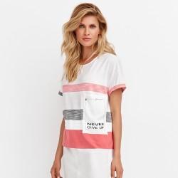 letnia bluzka w pasy Feria FD68-3-61 biała rozmiar 38 40 42 44 46 48