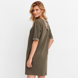 prosta sukienka Feria FD231-3-36 oliwkowa rozmiar 38 40 42 44 46 48