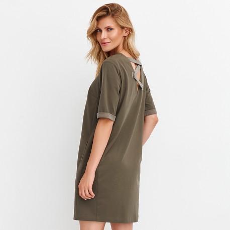 e6f74b4ec47417 prosta sukienka Feria FD231-3-36 oliwkowa rozmiar 38 40 42 44 46 48