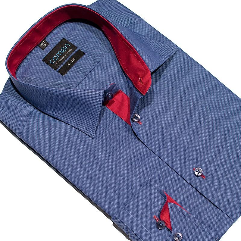 koszula Comen dł. rękaw slim niebieska