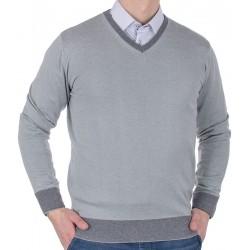 Popielaty sweter Tris Line 1770V v-neck bawełniany M L XL 2XL 3XL