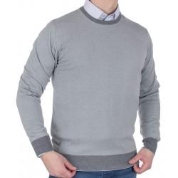 Sweter u-neck Tris Line 1770PA popielaty bawełniany M L XL 2XL 3XL