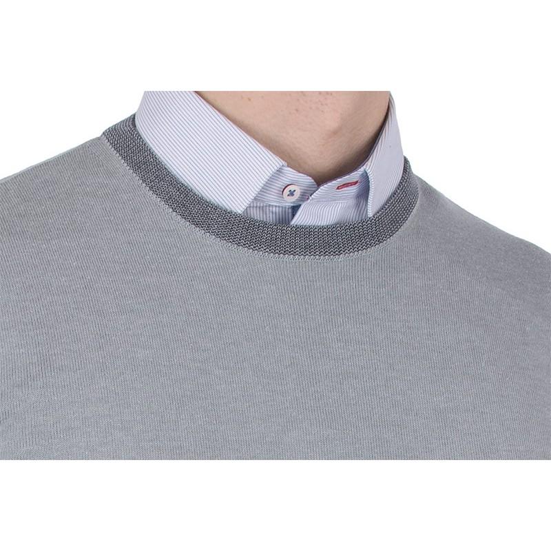 Popielaty sweter u-neck Tris Line 1770PA