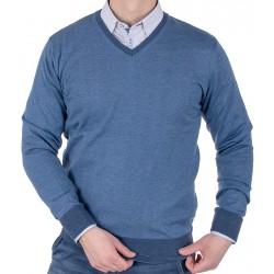 Niebieski sweter Tris Line 1770V w szpic bawełniany M L XL 2XL 3XL
