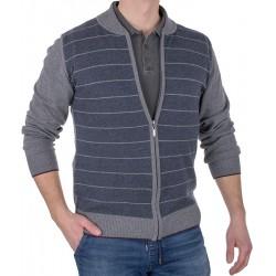 Rozpinany sweter Tris Line 1860 GZ szary w paski blezer M L XL 2XL 3XL