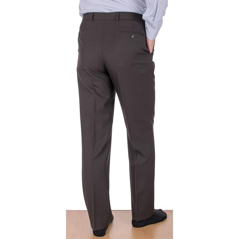 Proste spodnie wizytowe w kant Lord - brązowe