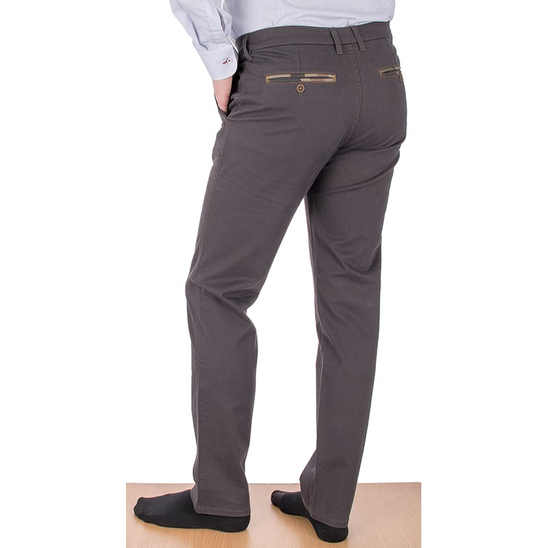 Szaro-brązowe spodnie chinos Lord R-86