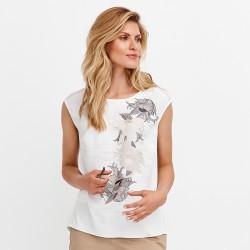 letnia bluzka Feria FD55-2-08 w kwiaty ekrii rozmiar 36 38 40 42 44 46