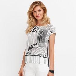 bluzka w ciemne paski Feria FD56-2-57 biała rozmiar 38 40 42 44 46 48