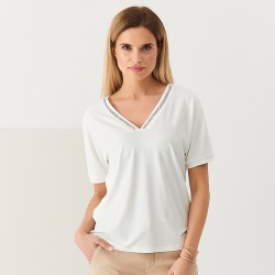 bluzka krótki rękaw Sunwear Q19-3-08 ekri rozmiar 38 40
