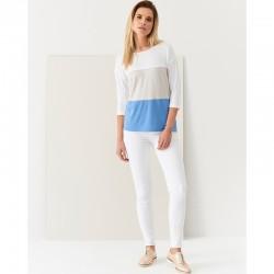 bluzka damska w pasy Sunwear Q35-4-15 tricolour rozmiar 44 48