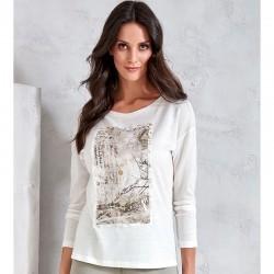 bluzka z długim rękawem Sunwear V57-5-68 beżowa rozmiar 40 42 48
