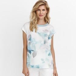 letnia bluzka Feria FD20-2-15 biała w liście rozmiar 42 44 46