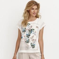 bluzka letnia Feria FD39-2-08 w kwiaty ekrii rozmiar 38 40 42 44 46