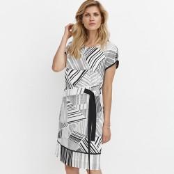 sukienka w kreski Feria FD214-2-57 biała rozmiar 38 40 42 44 46 48