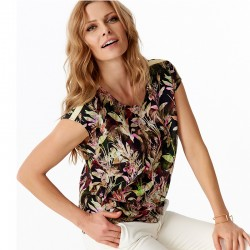 bluzka Sunwear Y28-2-36 w kwiatki brązowa rozmiar 38 40 42 44 46 48