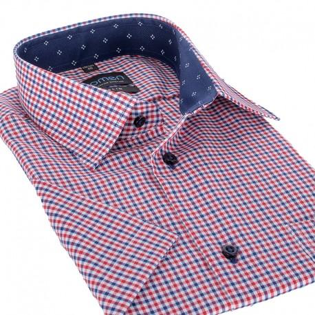 Koszula krótki rękaw Comen slim czerwona kratka