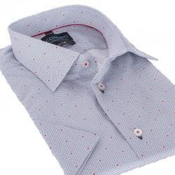 Popielata koszula krótki rękaw Comen slim wzór 39 40 41 42 43 44 45 46