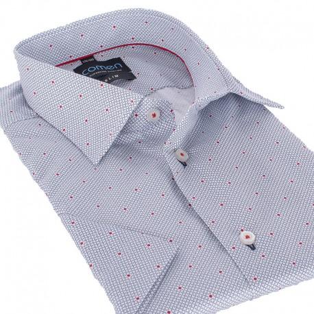 Koszula z krótkim rękawem Comen biała ze wzorkiem