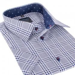 Niebieska koszula Comen w krate krótki rękaw 39 40 41 42 43 44 45 46