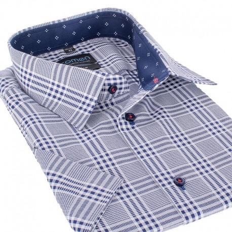 Koszula Comen slim z krótkim rękawem niebieska kratka
